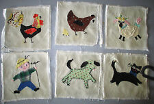Vintage Baby Quilt Top Appliqued Animals Cow Pig Chicken Cat Unassembled 1950's