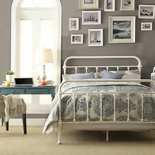 INSPIRE Q Giselle Antique White Graceful Lines Victorian Iron Metal Bed