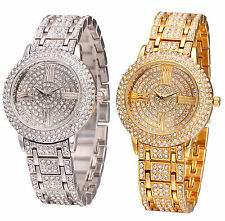 AOYI Silver/18K Golden Plated Full Crystal Diamond Case Womens Lady Watch Quartz