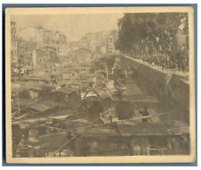 China, Canton, View along the Channel  Vintage silver print. Tirage argentique