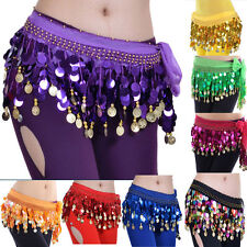 Shining Colorful Sequin Bead Belly Dance Hip Scarf Wrap Belt Skirt Gold Coins