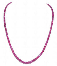 Ruby Gemstone Round Faceted Bead String-NP1057