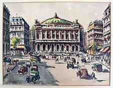 Andre Krafft 1911-1986 Listed Watercolor Painting Paris Opera House 1930's
