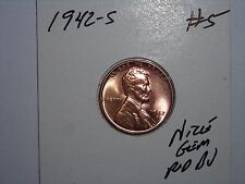 wheat penny 1942S GREAT GEM RED BU 1942-S LOT #5 LINCOLN CENT UNC RED LUSTER