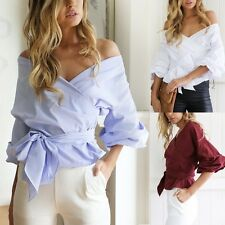 Womens Sexy Off Shoulder Puff Sleeve Belted T-Shirt Casual Loose Tops Blouse