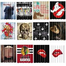 Shower Curtain Bathroom Polyester Fabric Drapes Panel Decor with 12 Hooks Multi