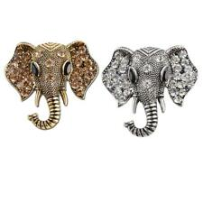 Antique Vintage Glitter Rhinestone Elephant Pin Brooch Strength Ornaments