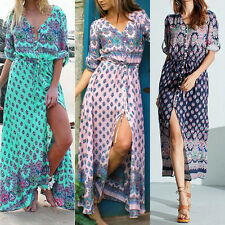 Women's Summer Vintage Boho Long Maxi Party Evening Beach Dress Floral Sundress