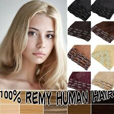 "8 - 22"" Inches Clip In Extensions 100% Remy Human Hair Full Head Natural Look II"