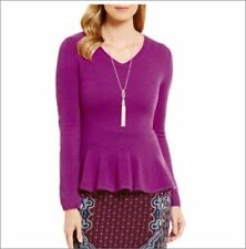 NWT Alex Marie Willow V-Neck Peplum 100% Cashmere Sweater Choose Color Size