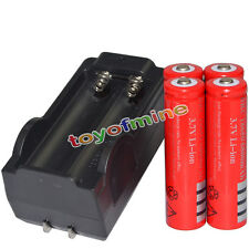 4x 3.7V 18650 Li-ion 6800mAh Red Rechargeable Battery + 18650 Charger