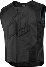 Mens Icon Black Hypersport Prime Leather Motorcycle Riding Street Racing Vest