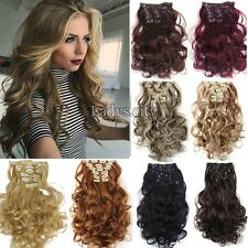 UK Women Long Straight Clip in Hair Extentions 8Pcs Full Head Hair Extension M4a