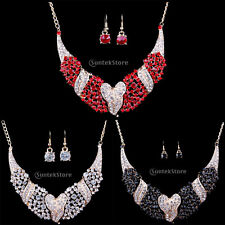Wedding Bridal Prom Jewelry Crystal Rhinestone Heart Charm Necklace Earrings Set