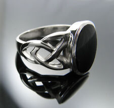 .925 Silver Black Onyx Ring with Celtic Knots Sz: 6-10