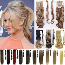 """UK Wrap Around Clip In As Human Ponytail Hair Extensions Pony Tail Long Wavy 24"""""""