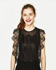 Womens Black Sheer See Through Lace Sleeveless Top Shirt Blouse