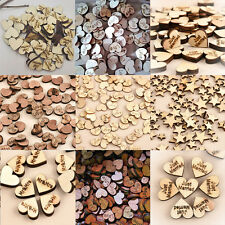 100pcs Rustic Wooden Wood Love Heart Wedding Table Scatter Decoration Crafts U87