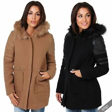 Womens Detachable Fur Leather Trim Wool Hooded Parka Coat Jacket Trench Winter