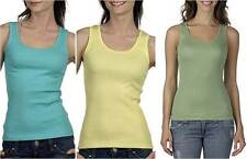 Bella Ladies Shirt 2x1 Rib Cotton Tank Top M L Black White Pink Yellow Green
