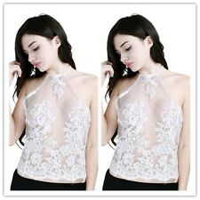 Women Summer Vest Crop Top Sleeveless Floral Lace Halter Neck Casual Blouse Sexy