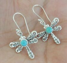 Gemstone Solid Silver, 925 Balinese Dragonfly Design Earring 39116