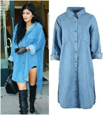 Womens Ladies Denim Chambray Longline Shirt Oversized Vintage Celeb Top Dress