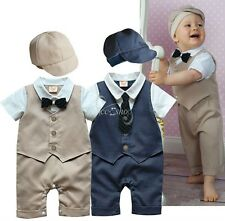 2pcs Toddler Baby Boys Kids Gentleman Outfits Clothes Romper Bodysuit + Hat Sets