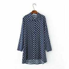 New Womens Ladies Polka Dot Print Long Sleeve Button Down Shirt Blouse Tops