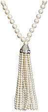 KENNETH JAY LANE-38″INCH-PEARL BEAD TASSEL NECKLACE WITH PAVE CRYSTALS