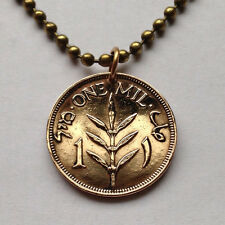 Palestine 1 Mil coin pendant Palestinian necklace West Bank Arab Hebrew N000995
