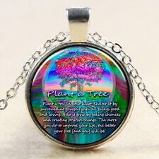 Rainbow The Tree Of Life Glass Photo Art Pendant Necklace Gift For Mum Hers