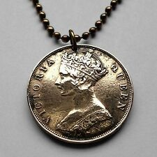1875 UK Hong Kong cent coin pendant Queen Victoria Chinese China British n001869