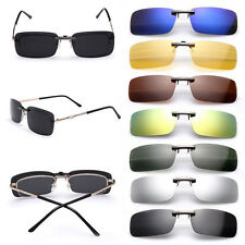Polarized Clip On Flip-up Sunglasses UV400 Driving Glasses Day Night Vision Lens