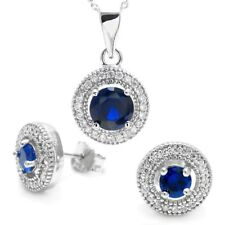 925 Sterling Silver 1.99 Carat Blue CZ Halo Pendant and Earring Set