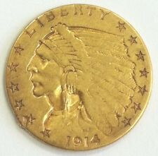 1914 $2.50 QUARTER INDIAN HEAD GOLD US COIN