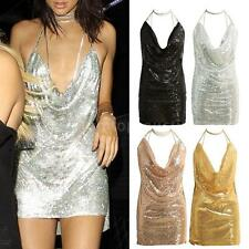 Deep V Metal Chain Halter Sequin Dress Party Evening Club Backless Dress F8Z8