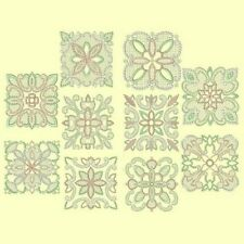 Candlewick & Satin 2 Quilt Squares Machine Embroidery Designs-40 Anemone Designs