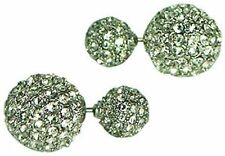 KENNETH JAY LANE-2 SIDED PAVE CRYSTAL -STUDS EARRINGS-PIERCED-8mm & 12mm-GOLD...