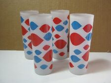Dairy Queen 4 Vintage Tall DQ Frosted Glass Tumblers Premium   T*