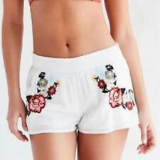 New Womens Ladies Elastic Waist Floral Embroidered Pockets Short Pants Shorts