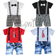 Infant Baby Boy One Piece Gentleman Bowtie Jumpsuit Romper Outfit Clothes 0-18M