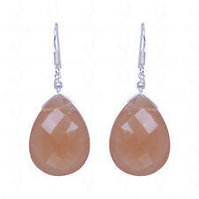BROWN CHALCEDONY GEMSTONE ALMOND SHAPE EARRINGS MADE IN 92.5 SOLID SILVER-ES1447