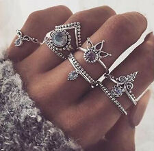 8Pcs/Set Silver Gold Arrow Gemstone Midi Finger Above The Knuckle Ring Jewelry