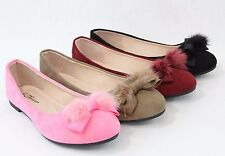Cute Women Comfortable Ballet Flat With Bow Fur Design Comfort Shoes Faux Suede