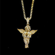 Little Angel Angel Wings Crystal Pendant Alloy Chain Necklace Wedding Gifts @_@