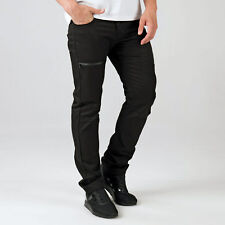 Mens Eto Em574 Tapered Fit Jeans In Black-Button Fly-Belt Loops To