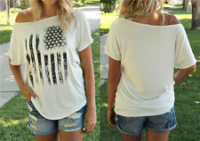New Women Casual Tops Off Shoulder T Shirts Cotton Short Sleeves Loose Tee White