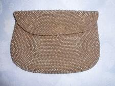 vtg 40s Beige faux pearl hand band in rear small clutch made in Japan STUNNING