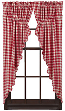 Breckenridge Plaid Prairie Swags in Country Red and Creme, Choice of Two Sizes